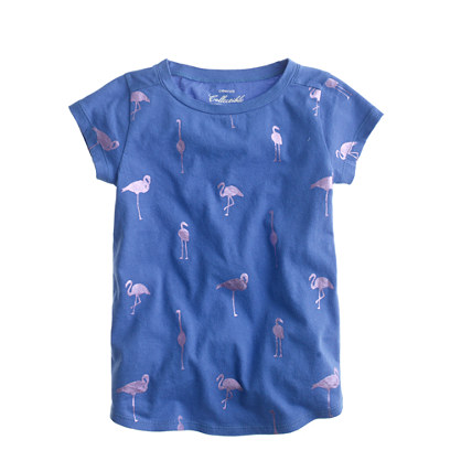 Girls' metallic flamingos T-shirt
