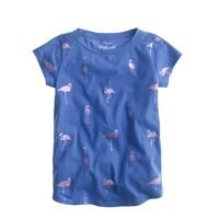 Girls' metallic flamingos T-shirt