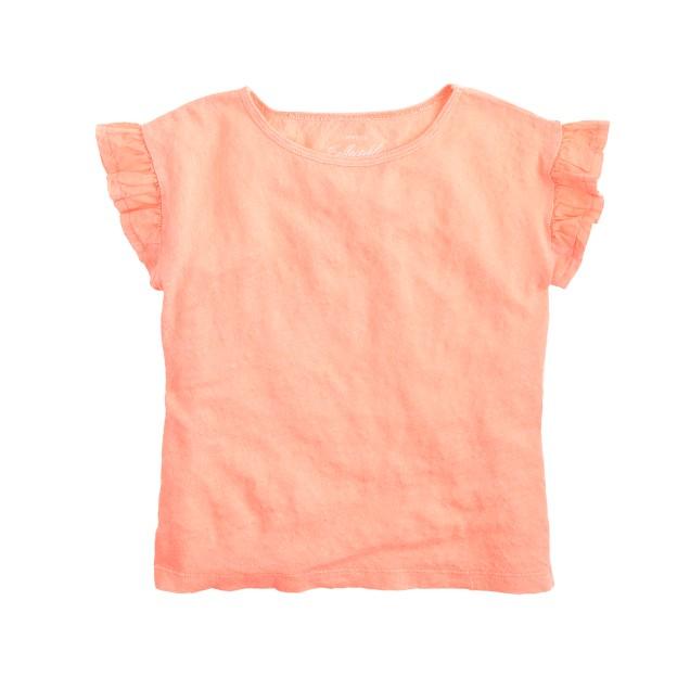 Girls' linen flutter-sleeve T-shirt