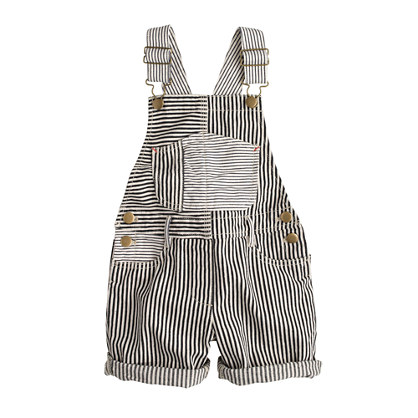 Girls' denim overalls in railroad stripe