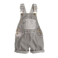 Girls' denim overalls in railroad stripe