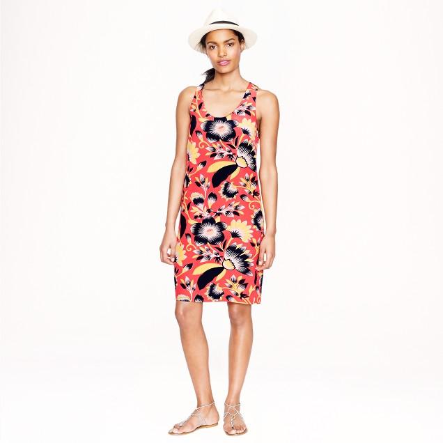 Twist-back silk dress in hibiscus floral