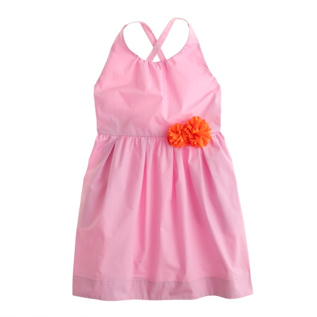 Girls' contrast corsage dress