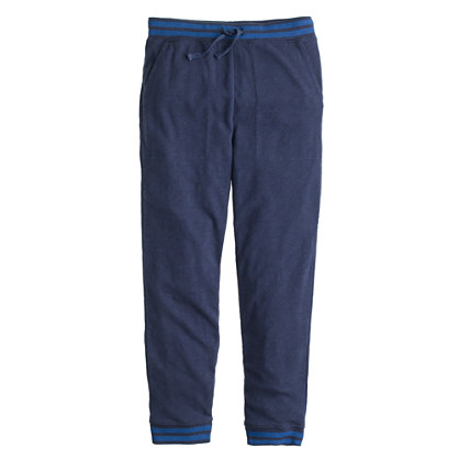 Boys' slim slouchy sweatpant in contrast stripe
