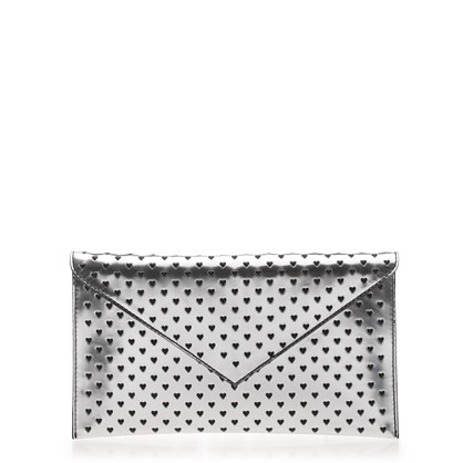 Stationery clutch in heart perforated metallic leather