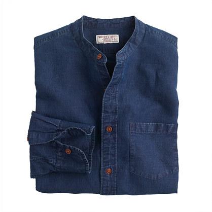 Wallace Barnes Band Collar Shirt In Irish Cotton Linen