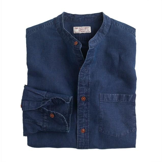 Wallace & Barnes band-collar shirt in Irish cotton-linen