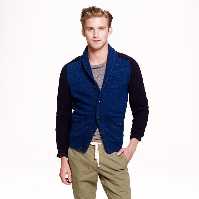 Wallace & Barnes indigo shawl-collar cardigan