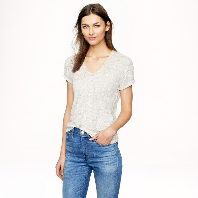 Metallic-trim linen scoopneck T-shirt