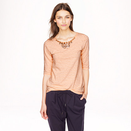 Jeweled painter T-shirt in stripe