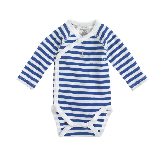 Baby Petit Bateau® long-sleeve bodysuit in blue stripe