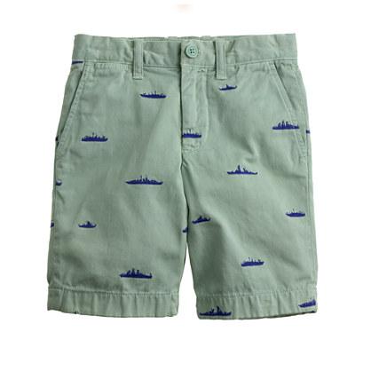 Boys' embroidered Stanton short in battleship