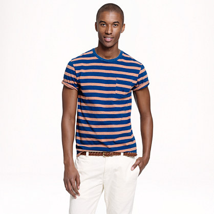 Indigo pocket T-shirt in onyx stripe