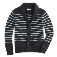 Cotton shawl-collar cardigan in nautical stripe