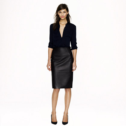 Collection leather pencil skirt