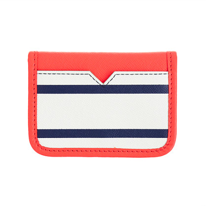Stripe leather card case