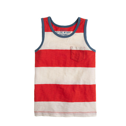 Boys' pocket tank in wide stripe