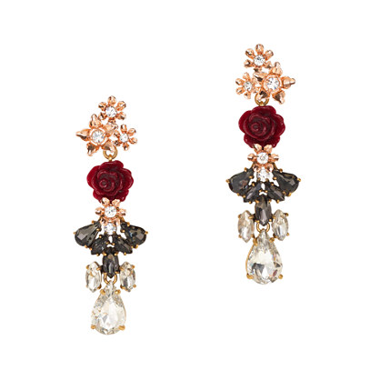 Rosette drop earrings