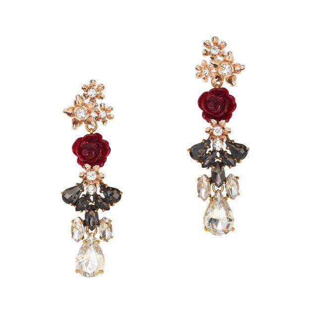 Rosette drop earrings