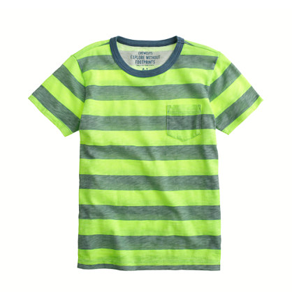 Boys' ringer tee in neon stripe