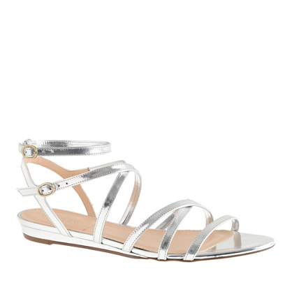 Emmaline mirror metallic mini-wedge sandals