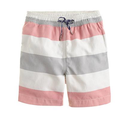Boys' oxford cloth swim trunk in stripe