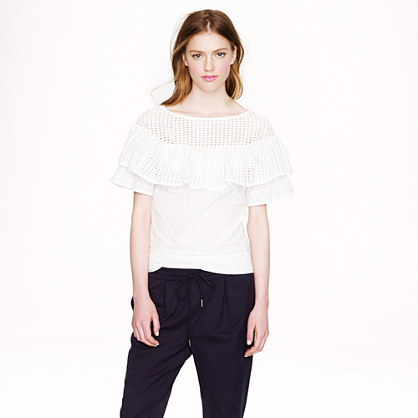 Collection eyelet flounce top