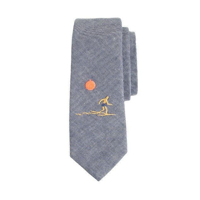 Boys' embroidered beach scene chambray tie