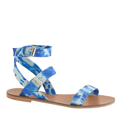 Leila tie-dye ankle-wrap sandals