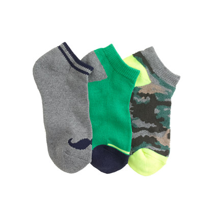 Boys' ankle socks three-pack in moustache