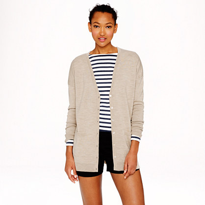Double-knit merino wool boyfriend V-neck cardigan