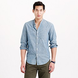 Wallace & Barnes band-collar Japanese selvedge chambray shirt