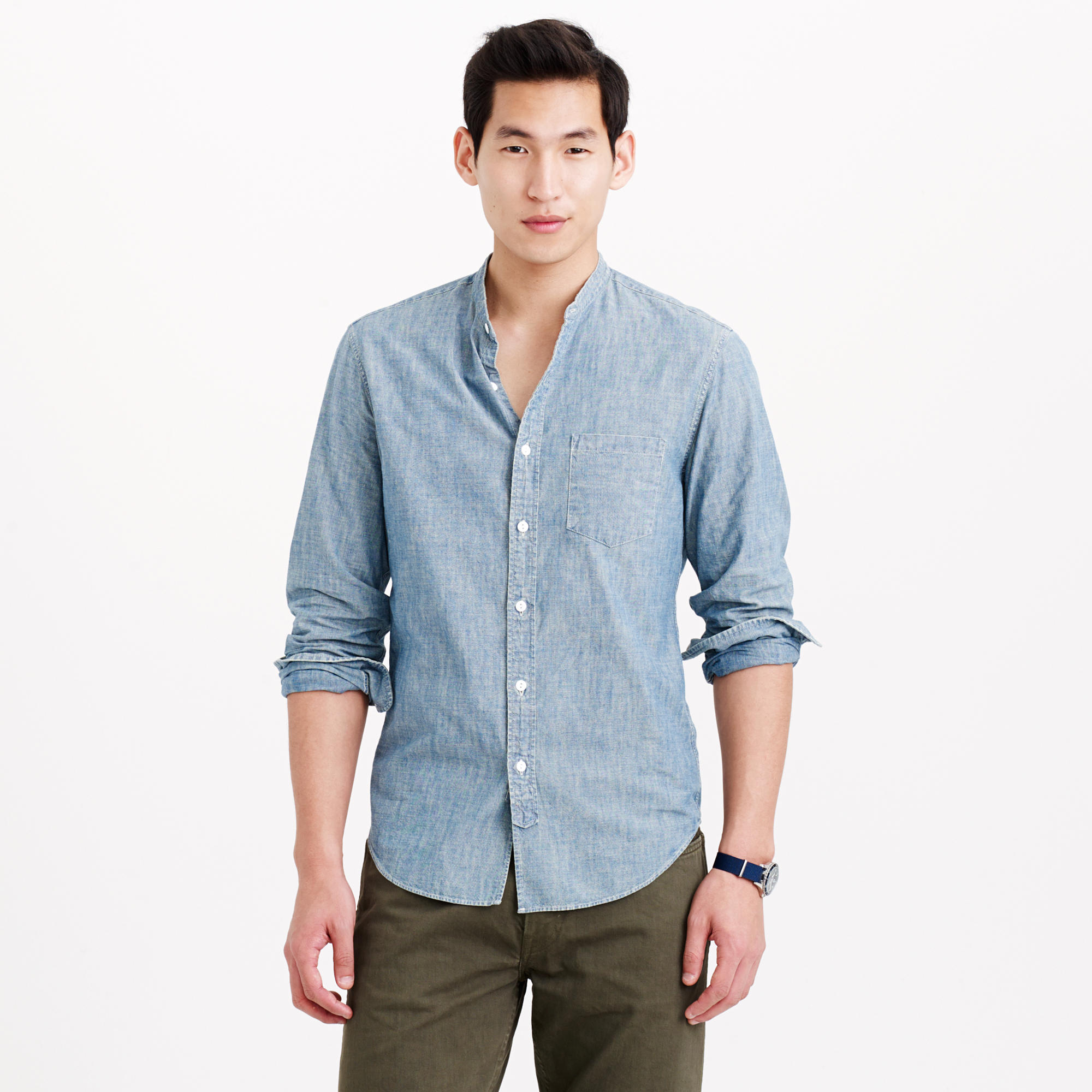 Wallace & Barnes band-collar Japanese selvedge chambray shirt ...