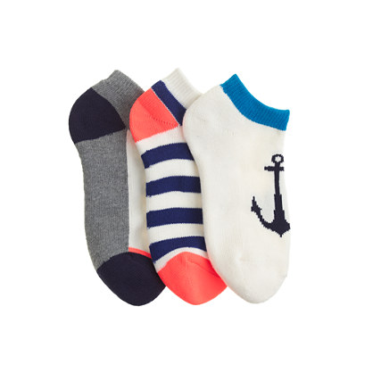 Boys' ankle socks three-pack in anchor