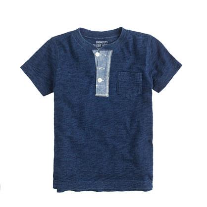 Boys' short-sleeve indigo henley
