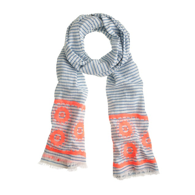 Embroidered floral stripe scarf