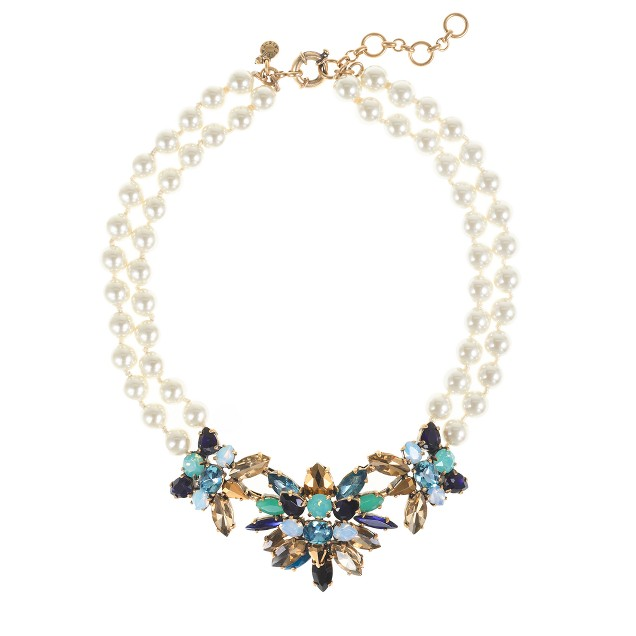 Stone burst pearl necklace