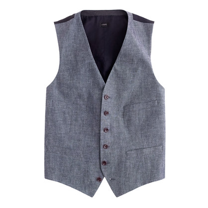 Ludlow suit vest in Japanese chambray