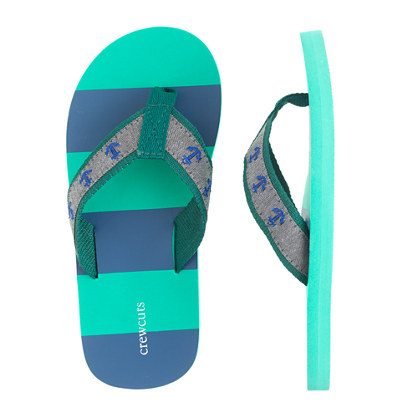 Kids' anchor stripe flip-flops