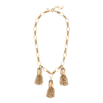 Flower bud tassel necklace