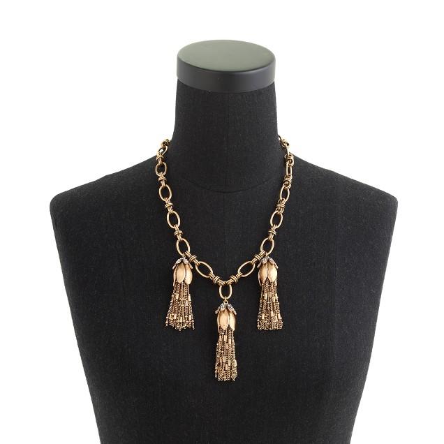 Flower bud tassel necklace