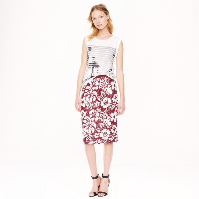 Collection tropical sequin pencil skirt