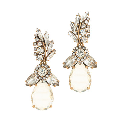 Crystal feather teardrop earrings