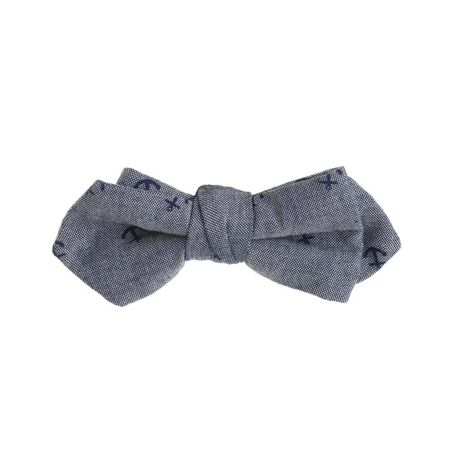 Boys' chambray bow tie in anchor print