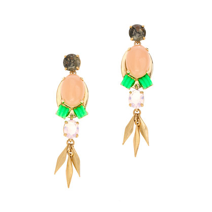 Beaded stone earrings