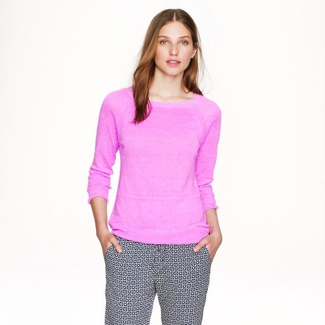 Linen high-low hem sweater in garment dye