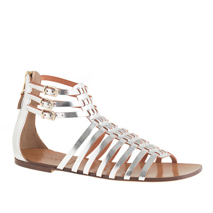 Woven mirror metallic gladiator sandals