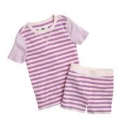 Girls' short-sleeve pajama set in contrast stripe