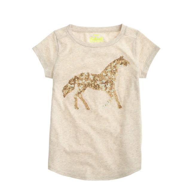 Girls' sequin horse T-shirt