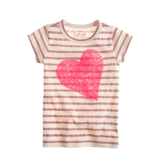 Girls' sequin happy heart T-shirt in stripe